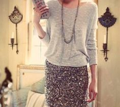 sequin skirt with slouchy sweater