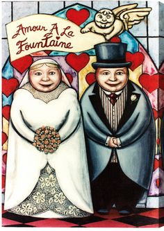 """""""Love From The Fountain- Wedding Art - Painting Print from Chicago Skyline Art - Paintings"""