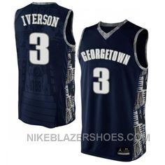 f10e83cb8 NCAA Mens Georgetown Hoyas  3 Allen Iverson Navy Blue Authentic Basketball  Jersey Free Shipping NXpXF