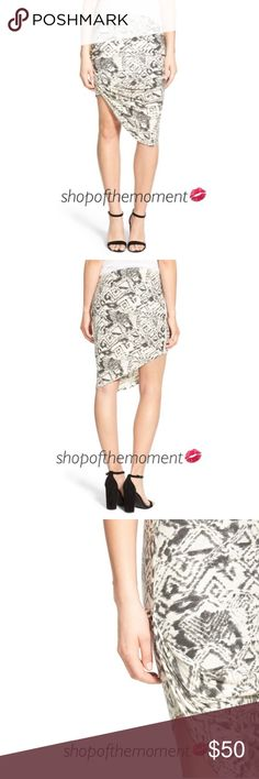 """🦄🆕 ✲ Pam & Gela ✲ Asymmetrical Draped Skirt ✲ Pam & Gela Asymmetrical Draped Skirt Brand New with Tags  🦄🦄🦄🦄🦄🦄🦄🦄🦄🦄🦄🦄  A hazy geometric print boosts the eye catching, island inspired style of a stretch knit skirt that's gathered at one hip for a flirty, leg flaunting silhouette. The Juicys are back! (P&G formerly of Juicy Couture)  Fabrication: Jersey  Approximate Measurements: Length 1: 14.75"""" shortest  Length 2: 24.5"""" longest  🦄🦄🦄🦄🦄🦄🦄🦄🦄🦄🦄🦄  ✗ Drama ✗ Trades ⚡️Fast…"""