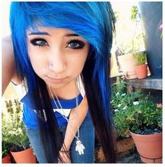 #blue & #black #dyed #hair #pretty