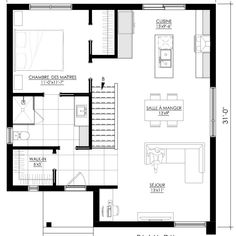Dream House Plans, Small House Plans, House Floor Plans, Modern Floor Plans, Garage Apartments, Cardboard Furniture, House Layouts, Architecture Plan, Bungalow