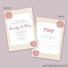 Black  White Wedding Invitation Template  Photoshop Psd Instant