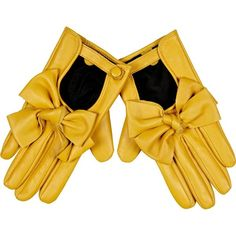 River Island Yellow Leather Look Bow Gloves ($40) ❤ liked on Polyvore