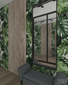 Green wallpaper / Greenery hallway /  Modern interior design / Portfolio projektowanie wnętrz lublin | Czysta forma | Projektowanie wnętrz Lublin, Warszawa Modern Interior, Oversized Mirror, Concrete, Copper, Furniture, Home Decor, Decoration Home, Room Decor, Modern Interiors