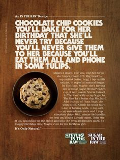 (Copy) This ad contains a long texts which is the recipe, of how their no-calorie sugar can be used in desserts which in this case, are chocolate chip cookies. Raw Food Recipes, Cookie Recipes, Advertisement Examples, Copy Ads, Coffee Supplies, Easy Chocolate Chip Cookies, Marketing, Copywriting, Print Ads