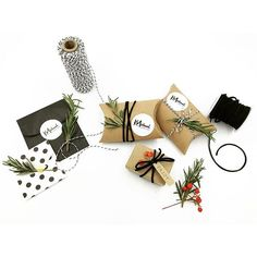 Easy DIY Holiday wrapping & packagingJust add fresh Rosemary sprigs (Trader Joes or any grocery produce section) & holly berries (fake or real from your neighbors berry bush) ✂️TA-DA!