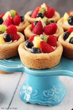 Fruit Cheesecake Sugar Cookie Cups; another great use for sugar cookie dough!