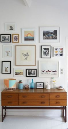 A mid-Century modern console and art collection - a lovely, light and airy feel…