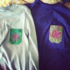 cute monogram pocket tshirts