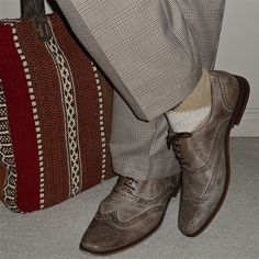 Check pants, tapestry tote, Spring shoes...