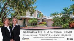125 Cordova Blvd NE, St. Petersburg,  FL 33704 Listed by Lee Stratton & Debbie Momberg 727.560.1571 http://www.sisterssellstpete.com