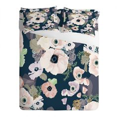 A perfectly moody floral that makes bedding oh-so-romantic.
