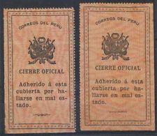 Peru 1910 Sellos Oficiales Sc Unlisted Drummond os5-os6 Set Completo Menta con bisagras Rara!