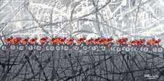 cyclig abstract | Peloton Orange & Red 12x6 onches - a line of cyclists against an ...