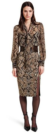 Altuzarra at Target – Bow Blouse in Python Print, $34.99, Pencil Skirt in Python Print, $34.99, Croc Effect Belt in Brown, $29.99, Ankle Strap Shoe in Brown, $39.99.