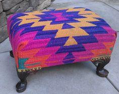Vibrant kilim bench - put your feet up!