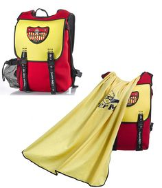 Superhero backpacks for boys - Golden Powers Cape Kids Backpack - From the outside, it is a sleek and super functional kids / toddler /student backpack.  This backpack converts into a superhero dress up costume by simply pulling the hidden cape out of a pocket at the top of the backpack. Superhero eye mask included to complete the transformation. The bags are made from environmentally friendly, insulating EVA to keep snacks & drinks fresh.