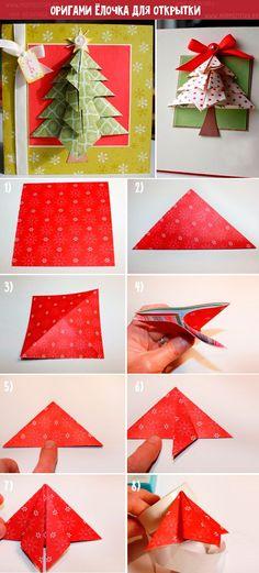 Новогодняя открытка, оригами. Подарки на новый год своими руками. Более 20 идей Xmas Cards, Beautiful Christmas, Origami, Presents, Gift Wrapping, Christmas Ornaments, Cool Stuff, Creative, Handmade
