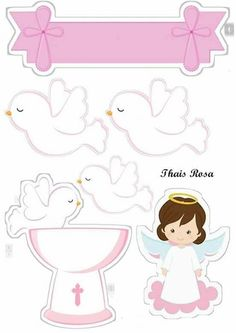 Christening Decorations, First Communion Party, Tissue Paper Flowers, Baby Christening, Scrapbook Templates, Book Crafts, Baby Sewing, Paper Dolls, Coloring Books