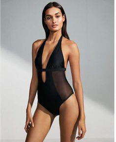 fb432b5c5f7 Express plunging mesh cut-out one-piece swimsuit This plunging one-piece is