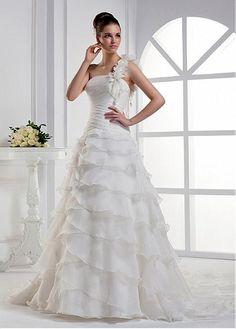 GLAMOROUS ORGANZA SATIN BALL GOWN ONE SHOULDER NECKLINE INVERTED BASQUE WAIST TIERED BRIDAL DRESS HANDMADE FLOWERS