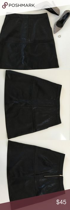 """Zara Vegan Leather Skirt Zara Vegan Leather Skirt. Measures laying flat 18.5"""" long 14.5"""" across waist top. Has two front pockets and 1/2 zipper down back. So cute and chic! In great condition. Zara Skirts"""