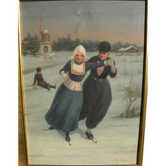 A very sweet oil on canvas painting of several young ice skaters in Holland in winter, the scene completed by a classic windmill in the left distance from Jon Berg Fine Arts and More on RubyLane.com