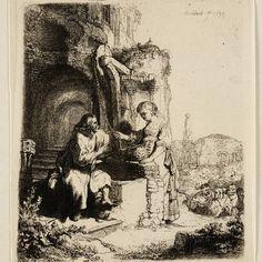 Rembrandt, Christus en de Samaritaanse vrouw: op de achtergrond ruïnes ( B 71 ), 1634. Teylers Museum