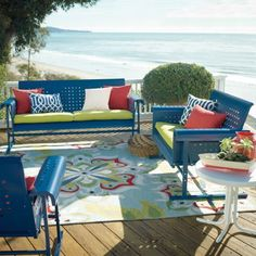 Retro Outdoor Furniture Collection - Grandin Road - I want this set in white or Aquatic!