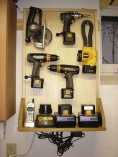 Cordless tool charger station DIY, Do It Yourself, #DIY