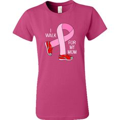 I walk for my mom text and a pink ribbon walking in sneakers is a unique breast cancer awareness design for anyone walking for a cure. $16.99 www.bartholgraphics.net