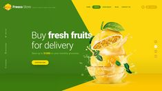 Fresco Store Fruit Hero Header Template is clean, modern and colorful header for your website especially for organic/fruit store Food Graphic Design, Creative Poster Design, Web Design Tips, Graphic Design Trends, Web Design Tutorials, Menu Design, Web Design Inspiration, Banner Design, Layout Design
