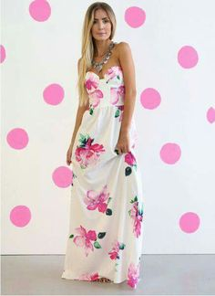 90a4533b683e Enchanted Floral Print Maxi Dress Perfect spring and summer dress. I got it  for my bridal shower. Would look great on any beach! I recommend a slip as  it is ...
