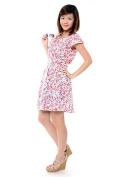 Wisteria — Jermaine Floral Dress Pink SGD $25