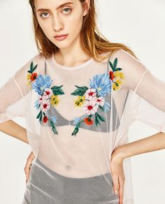 Image 2 of EMBROIDERED TULLE T-SHIRT from Zara Holy Chic, Behance, Zara United States, Christmas Sweaters, Floral Tops, Tulle, T Shirt, Clothes, Outfits