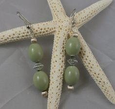 Silver and Olive Green Bead Dangle Earrings by OnlyOriginalsByAJ