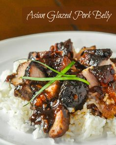 Asian Glazed Pork Belly , slow good to tender, silky textured perfection.