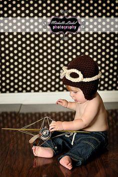 PDF Aviator Earflap CROCHET  PATTERN No 253 photo prop sizes preemie, newborn, 0-3 months, 3-6 months, toddler, kid  and adult. $3.99, via Etsy.
