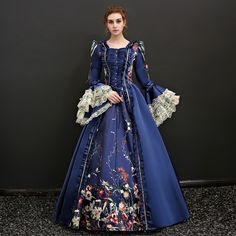 Queen Victoria Renaissance Dress Outfits Party Costume Masquerade Women's Lace Costume Blue / Red Vintage Cosplay Length Sleeve Floor Length Long Length Ball Gown Plus Size Customized 17th Century Clothing, 17th Century Fashion, 15th Century, Renaissance Wedding Dresses, Renaissance Costume, Masquerade Dresses, Masquerade Party, Dress Clothes For Women, Royal Dresses