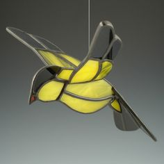 3D Gold Finch Suncatcher Stained Glass Bird by AngelasGlassStudio, $28.00