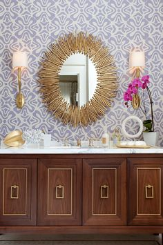 amazing bathroom with gold mirror and wooden regency cabinet.#Repin By:Pinterest++ for iPad#