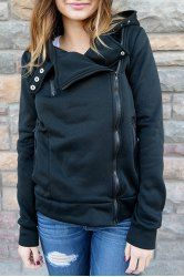 Stylish Hooded Long Sleeve Zippered Slimming Hoodie For Women (BLACK,XL) | Sammydress.com Mobile