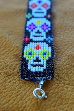 Skull Bead Loom Bracelet | Etsy