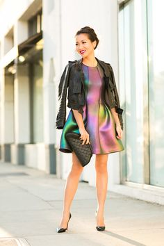 Holiday Glow :: Iridescent dress & Cropped jacket