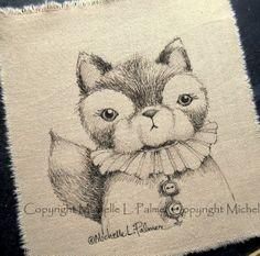 Fox Vintage Collar Baby Original Pen Ink Fabric by MichellePalmer, $8.50