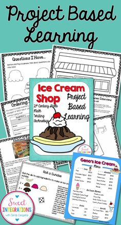 PROJECT BASED LEARNING MATH: ICE CREAM SHOP Including Decimals and Research - Use this 40 page resource with your 3rd, 4th, 5th, or 6th grade classroom or home school students. Students will open their own ice cream shop while learning about the history of ice cream, entrepreneurship, and economics. This cooperative learning project is a great activity to get students thinking about PBL, critical thinking, and instructional technology. {upper elementary, third, fourth, fifth, sixth graders}