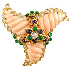 CARTIER Angel Skin Coral, Diamond, Emerald, Sapphire and 18k Yellow Gold Swirl Pin