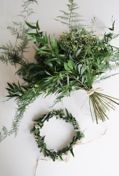 Fresh Greenery/Flower Crown & Bouquet Combo - REAL Foliage, REAL Flowers!