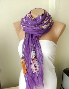 Five Bunnies are Shopping Purple Cotton Long Scarf with by Periay, $22.00